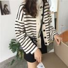Striped Buttoned Cardigan