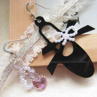 Ribbon And Ballet Slipper Earrings With Swarovski Crystal