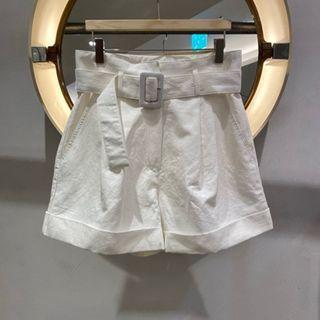 Belted High-waist Roll-up Wide-leg Shorts