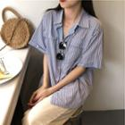 Striped Loose-fit Short-sleeve Shirt