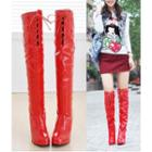 Lace-up Over-the-knee High-heel Boots