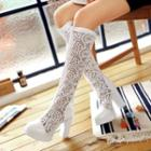 Lace Chunky-heel Tall Boots