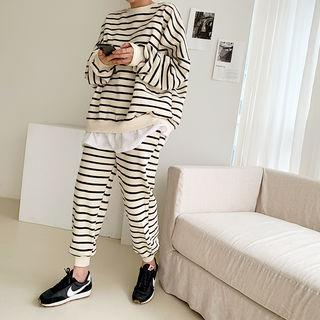 Layered Sweatshirt & Jogger Pants Striped Set Ivory - One Size