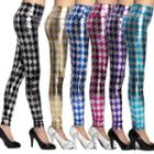 Metallic Argyle Patterned Leggings