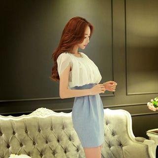 Short-sleeve Embellished-neckline Color-block Dress