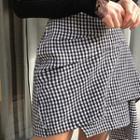 Draped Gingham Wool Blend Miniskirt