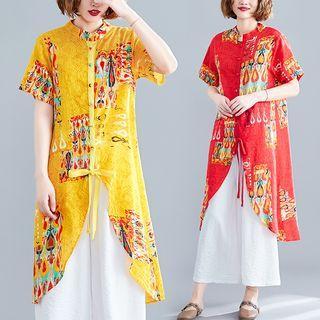 Printed Short-sleeve Long Shirt / Wide-leg Pants / Set