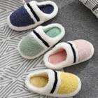 Paneled Faux Shearling Slippers