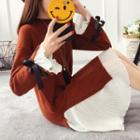 Tie-cuff Side-slit Sweater