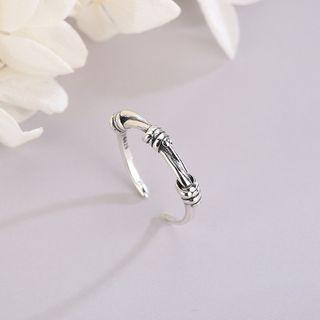 925 Sterling Silver Knot Open Ring Rs513 - Silver - One Size