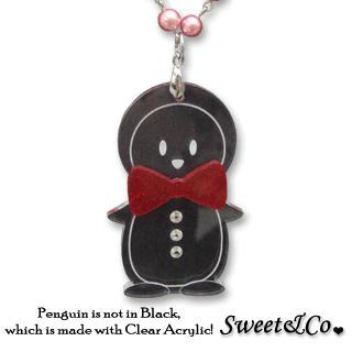 Bowtie Penguin With Red Pearl Silver Long Necklace