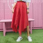 Checked Asymmetric-hem Skirt