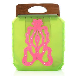Butterfly Handbag Green, Fuchsia - One Size
