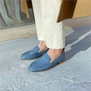 Stitched Pleather Loafers