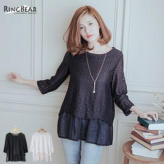 3/4-sleeve Chiffon Underlay Lace Top