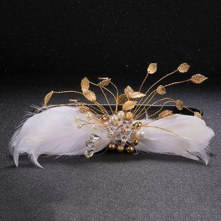 Bridal Feather Faux Pearl Hair Piece White - One Size