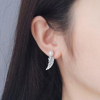 925 Sterling Silver Wings Faux Pearl Earring Silver - One Size