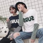 Couple Matching Inset Sleeve Lettering T-shirt