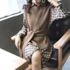Plaid Shirt Dress / Tie-waist Knit Vest