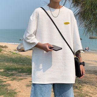 Short-sleeve Applique Quilted T-shirt