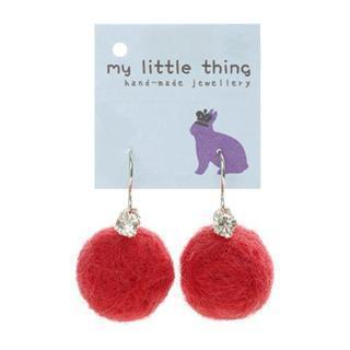 Red Felt Ball Ball Stone Earrings