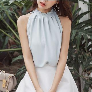 Plain Halter Tank Top / High Waist A-line Skirt