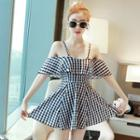 Gingham Ruffle Spaghetti Strap Swim Dress