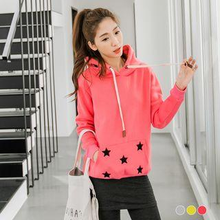 Brushed-lined Star-print Hooded Top
