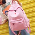 Set: Heart Print Canvas Backpack + Zip Pouch