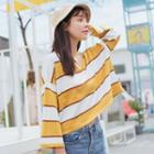 Long-sleeve Striped Knit Top Stripe - White & Dark Yellow - One Size