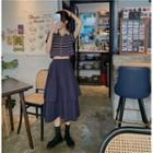 Short-sleeve Striped Cropped Shirt / A-line Midi Skirt