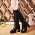 Faux-leather Block Heel Long Boots