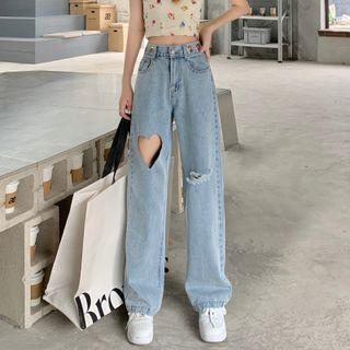 Distressed Heart Cutout Wide Leg Jeans