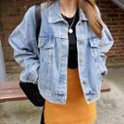 Loose-fit Cropped Denim Jacket Blue - One Size