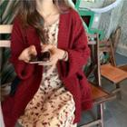Cable Knit Loose-fit Cardigan / Floral Sleeveless Dress