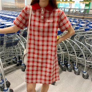 Short-sleeve Plaid Mini A-line Polo Dress