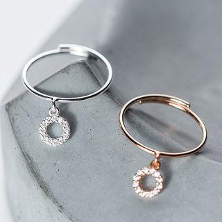 Rhinestone Circle Drop 925 Sterling Silver Ring