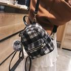 Pompom Plaid Mini Backpack
