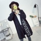 Lettering Hooded Long Cardigan