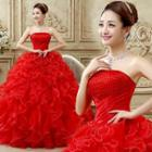 Strapless Ruffled Evening Gown