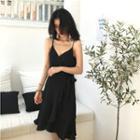 Sleeveless Ruffled Lace-up Dress