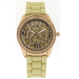 Glittery Leopard Pattern Wrist Watch Beige - One Size