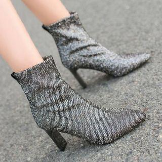 Chunky Heel Sequined Short Boots