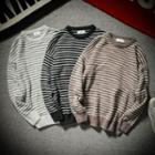 Elbow-applique Striped Sweater