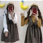 Plaid Sleeveless Dress / Long-sleeve Blouse