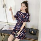 Printed Short Sleeve Chiffon Dress