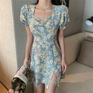 Puff Sleeve Square Neck Floral Print Slit A-line Dress