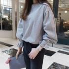 Puff Sleeve Striped Blouse Light Gray - One Size