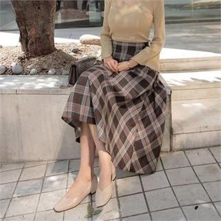 A-line Long Check Skirt