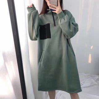 Mock-neck Half-zip Sweatshirt Dress